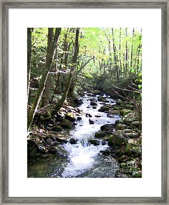 Framed Print featuring the mixed media Rocky Stream 6 by Desiree Paquette