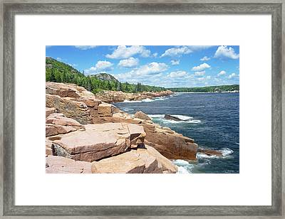Rocky Summer Seascape Acadia National Park Photograph Framed Print