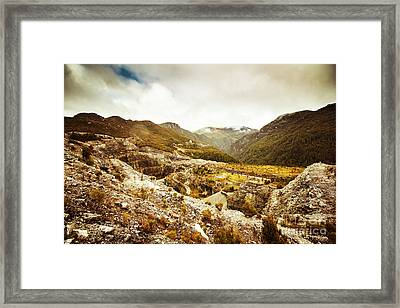 Rocky Valley Mountains Framed Print