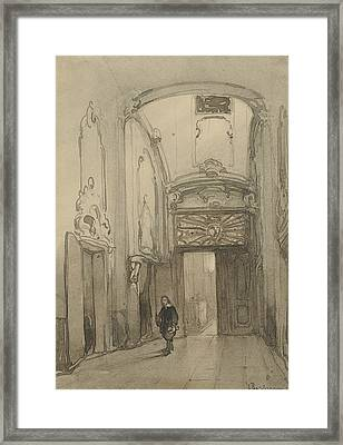 Rococo Portal In City Hall In The Hague With A Man In Seventeenth-century Costume Framed Print