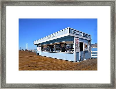 Framed Print featuring the photograph Rod Rental At The Pismo Beach Pier by Floyd Snyder