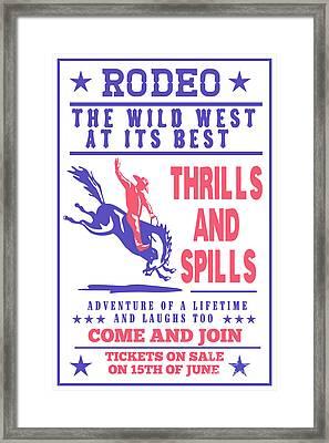 Rodeo Cowboy Bucking Bronco Framed Print by Aloysius Patrimonio