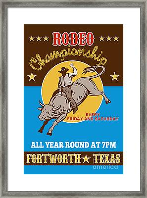 Rodeo Cowboy Bull Riding Poster Framed Print by Aloysius Patrimonio