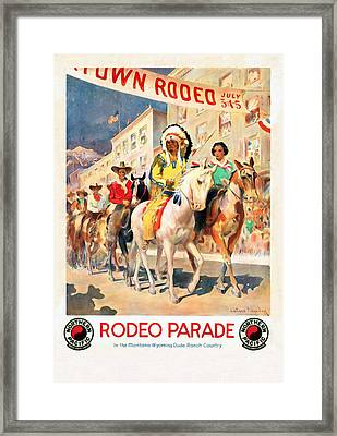 Rodeo Parade - Vintage Poster Restored Framed Print