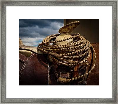 Rodeo Saddle Detail Framed Print by Jean Noren