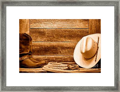 Rodeo Still Life - Sepia Framed Print by Olivier Le Queinec