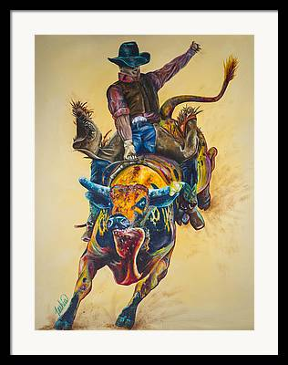 Bull Rider Art Framed Prints