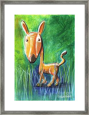 Roe Deer For Children Pastel Chalk Drawing Framed Print