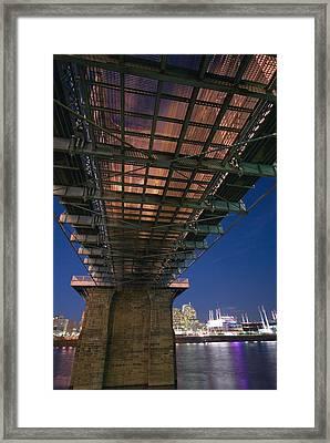 Roebeling Bridge At Night Framed Print