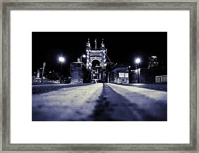 Roebling Suspension Bridge Framed Print by Keith Allen