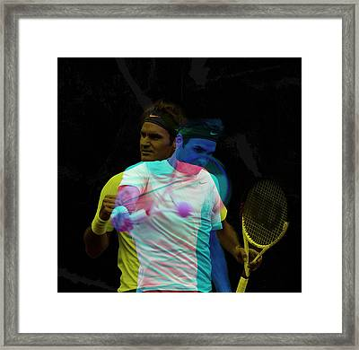Roger Federer Double Color Exposure Framed Print by Srdjan Petrovic