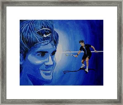 Roger Federer Framed Print by Quwatha Valentine