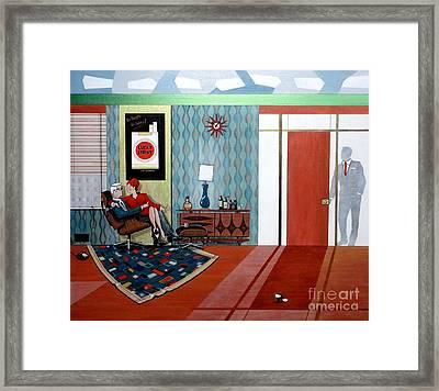 Roger Sterling And Joan Sitting In An Eames Framed Print