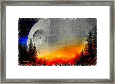 Rogue One Death Star - Pa Framed Print