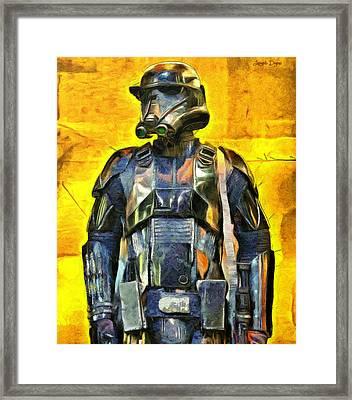 Rogue One Death Trooper Observing - Da Framed Print by Leonardo Digenio