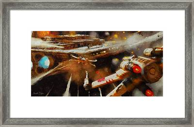 Rogue One X-fighter - Da Framed Print by Leonardo Digenio