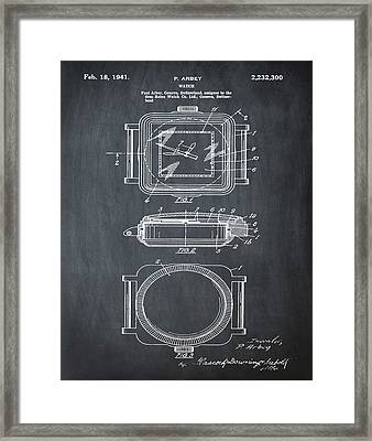 Rolex Watch Patent 1941 In Chalk Framed Print by Bill Cannon