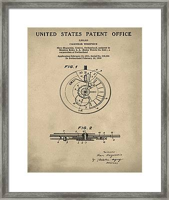 Rolex Watch Patent 1999 In Old Style Framed Print
