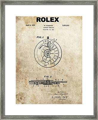 Rolex Watch Patent Framed Print by Dan Sproul