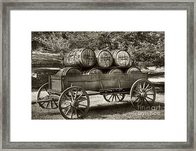 Roll Out The Barrels Sepia Tone Framed Print by Mel Steinhauer