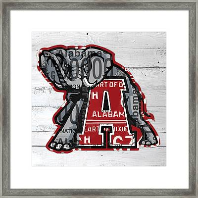 Roll Tide Alabama Crimson Tide Recycled State License Plate Art Framed Print by Design Turnpike