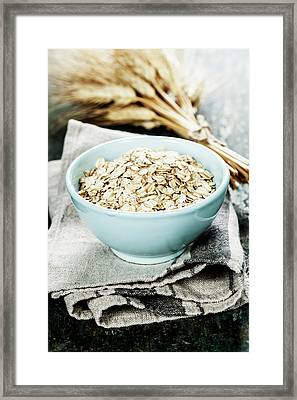 Rolled Oats In A Bowl  Framed Print by Natalia Klenova