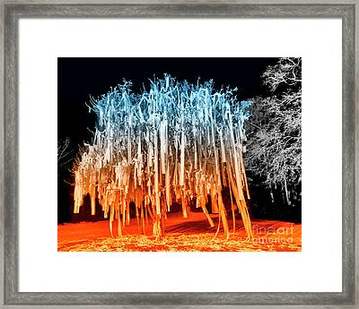 Rolled Tree Orangenblue Framed Print