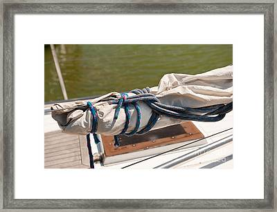 Rolled Up Mast Sail Cloth Framed Print by Arletta Cwalina