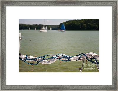 Rolled Up Mast Sail Material Framed Print by Arletta Cwalina