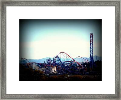 Roller Coasters At Twilight Framed Print