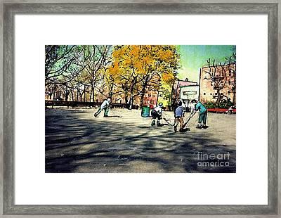 Roller Hockey In Bennett Park Framed Print by Sarah Loft