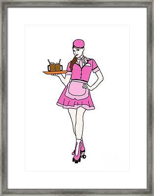 Roller Skate Waitress Framed Print