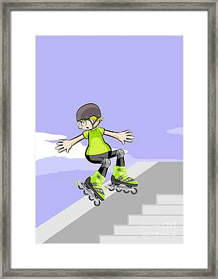 Rollerblader Jumping Down Stairs. Framed Print