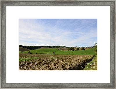 Rolling Hills And Tilled Fields In Italy Framed Print by DejaVu Designs