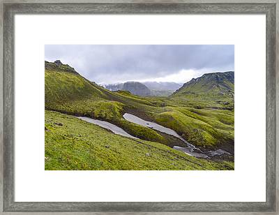Rolling Lava Flows Entering Iceland's Thorsmork Nature Reserve Framed Print