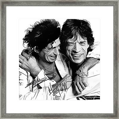 Rolling Stones Art With Autographs Framed Print