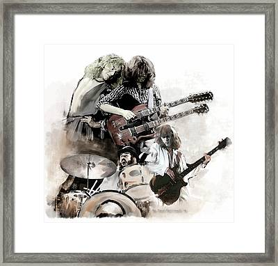 Framed Print featuring the painting Rolling Thunder Led Zeppelin by Iconic Images Art Gallery David Pucciarelli