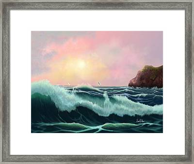 Framed Print featuring the painting Rolling Waves by Sena Wilson