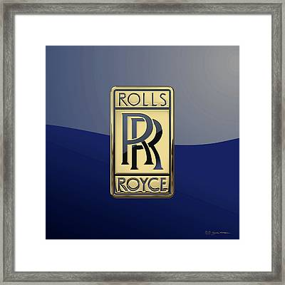 Rolls Royce - 3d Badge On Blue Framed Print by Serge Averbukh