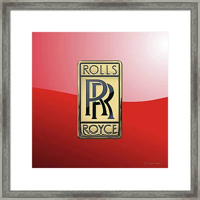 Rolls Royce - 3d Badge On Red Framed Print by Serge Averbukh