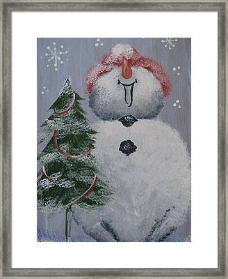 Roly Poly Snowman Framed Print