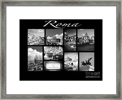 Roma Black And White Poster Framed Print