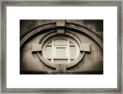 Roman Bath Window In Sepia Framed Print by Tony Grider