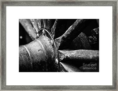 Roman Candy Cart Wheel - Bw Framed Print