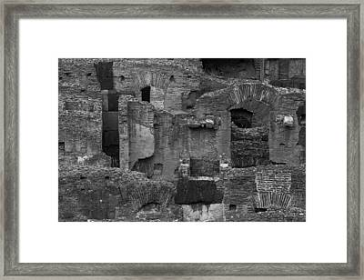 Framed Print featuring the photograph Roman Colosseum Bw by Silvia Bruno