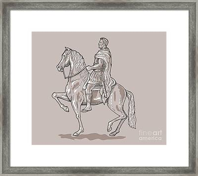 Roman Emperor Riding Horse Framed Print by Aloysius Patrimonio