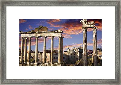 Roman Forum On Fire Framed Print