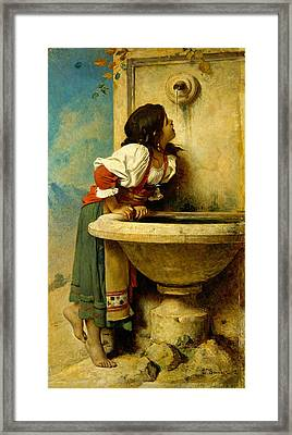 Roman Girl At A Fountain Framed Print