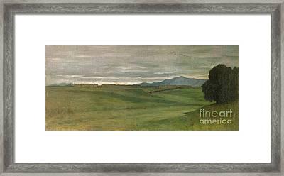 Roman Landscape Framed Print by Antoine Auguste Ernest Hebert