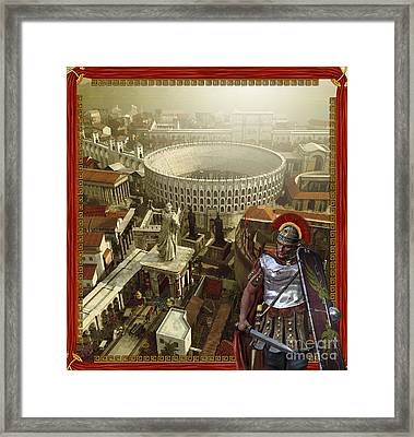 Roman Legionnaire With A Roman City Framed Print
